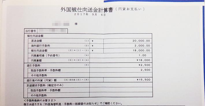 ソニックオプションしから着金時届く外国被仕向送金計算書