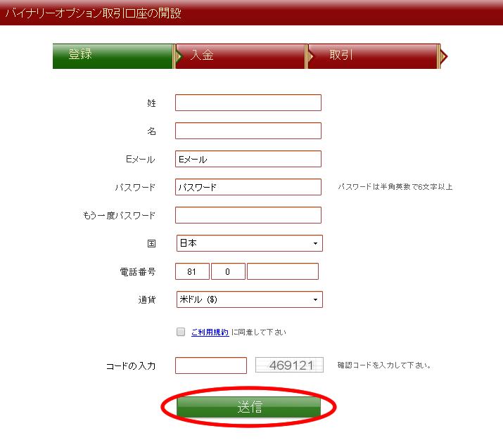 VIPオプション口座開設画面