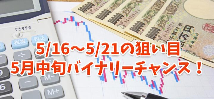 5月中旬バイナリーチャンス!5/16~5/21の狙い目